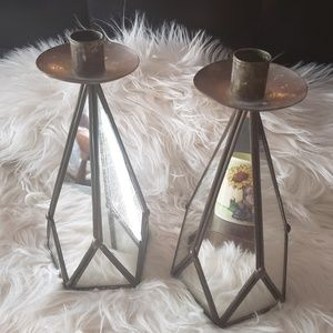 Other - Mirrored Set of 2 Beautiful Candle Holders